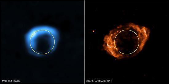 Fotografía izquierda: 1985 (radio). Fotografía derecha: 2007 (rayos-x). El circulo blanco permite comparar el tamaño en ambas imágenes.
