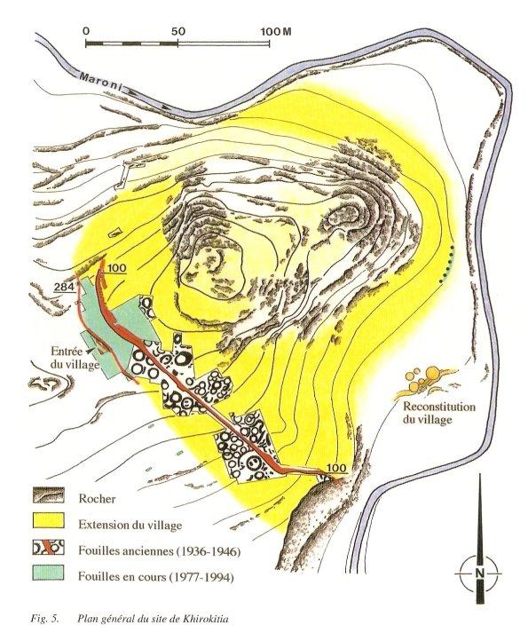 Plano del yacimineto. En amarillo la zona aún sin excavar. Map by Ms. O.Daune-Le Brun.