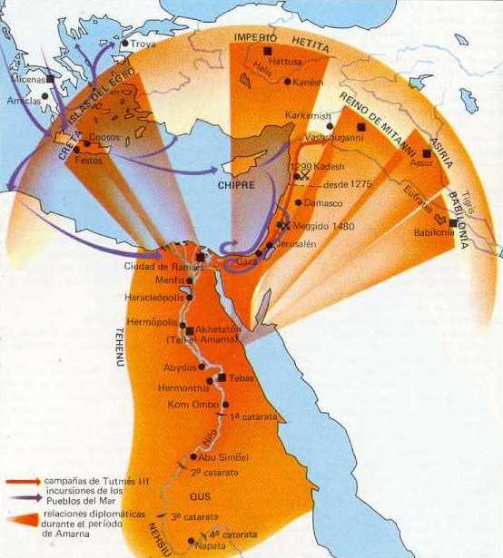 """Mapa del Imperio Nuevo y sus zonas de influencia en la dinastía XVIII. Del """"Atlas Histórico Mundial"""" de Hermann Kinder & Werner Hilgemann"""
