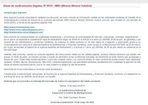Alerta de la Agencia española del Medicamento sobre el MMS