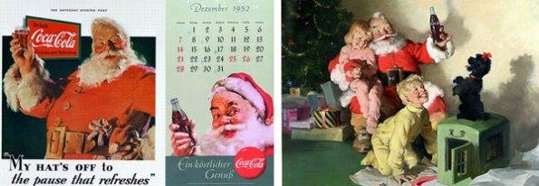Primer cartel publicitario de Coca-Cola en 1931 (izquierda) y versiones de las capañas de 1952 y 1964