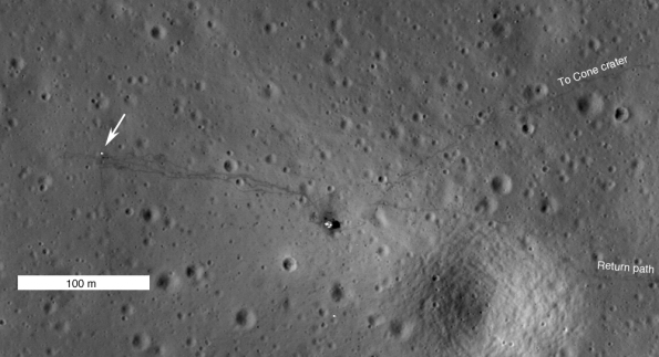 Imagen del lugar de alunizaje del Apolo 14, realizada el 25 de enero de 2011 por la misión LRO. Foto: Nasa (Recorte, pulsar para ver en alta calidad)