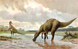 Hadrosaurus, reconstrucción artística. Imagen: Wikimedia commons.
