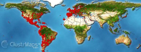 """Procedencia de las visitas a """"La Ciencia y sus Demonios"""" durante los últimos diez meses (los puntos presentan un tamaño proporcional al número de conexiones)"""