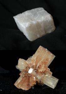 Cristales de calcita (arriba) y aragonito (abajo), dos formas de cristalización del carbonato cálcico