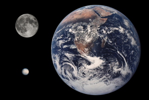 Comparación de tamaño entre Ceres, la Tierra y la Luna (créditos NASA)