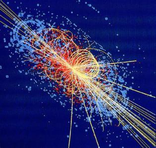 Simulación por ordenador de colisión de hadrones.