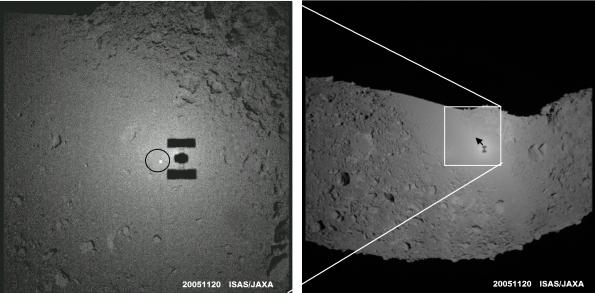 Imagenes del asteroide Ikotawa tomadas por la sonda Hayabusa, en las que puede apreciarse la sombra de la nave.