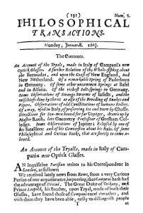 Número 1 de Philosophical Transactions (1665), la primera publicación científica revisada por pares de la historia.