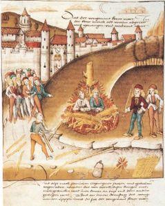 Quema del caballero de Hohenberg y su sirviente delante de la muralla Zürich por sodomía, 1482.