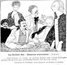 Caricatura de Willibald Krain (1886-1945) contra Adolf Brand y el GdE.