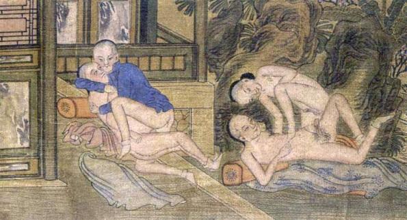 Detalle de jóvenes en prácticas homosexuales. Acuarela sobre rollo de papel de la dinastía Qing finales del XIX, en Pekín.. Acuarela sobre rollo de papel de la dinastía Qing finales del XIX, en Pekín