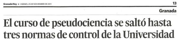 Titular del períodico Granada Hoy, del pasado viernes (pulsar para ver noticia completa)