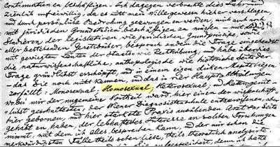 Carta de Károly Mária Kertbeny con la palabra «homosexual» escrita por primera vez en la historia (1868). Biblioteca Nacional Húngara.