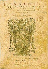 Portada de Las Siete Partidas. Ejemplar de 1555.