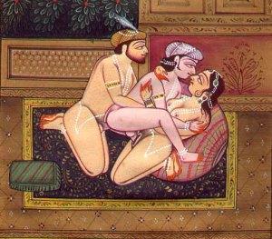 Menage a trois de dos hombres y una mujer hindúes; siglo XVII o XVIII.