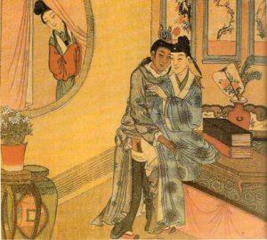 Pareja de hombres observados por una mujer.Museo de cultura sexual china, Tongli,Jiangsu,China