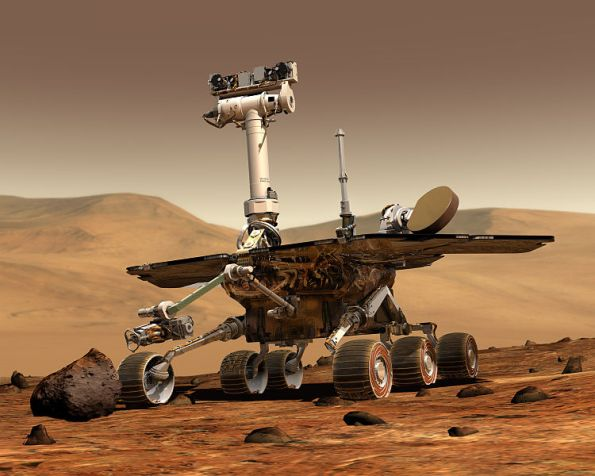 Representación artística de un Mars Exploration Rover. Imagen: Maas Digital LLC for Cornell University and NASA/JPL