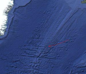 Dorsal atlántica (Flecha roja: Jonás de crucero)
