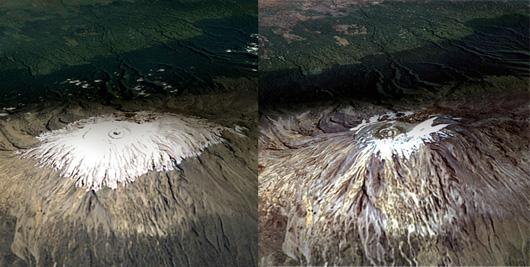 Monte Kilimanjaro, Febrero de 1993 (izquierda) y Febrero de 2000 (derecha)