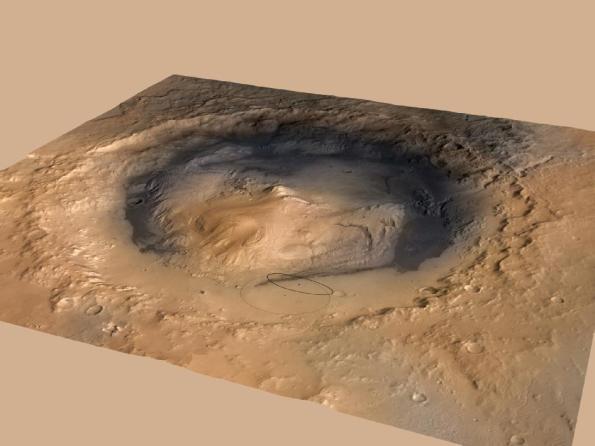 El Cráter Gale, mostrando el punto de amartizaje del MSL