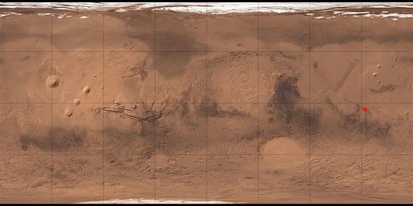 Ubicación del Crater Gale. Coordenadas en Marte: 4° 36′ 0″ S, 137° 12′ 0″ E (-4.6°, 137.2°)