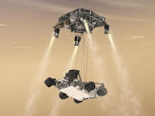 Representación artística del descenso del rover.