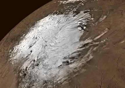 Resultado de imagen de Los casquetes de hielo de agua en Marte