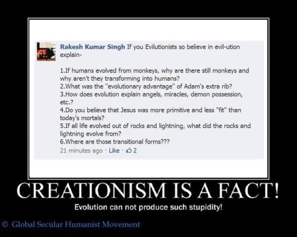 Comentario creacionista en un debate