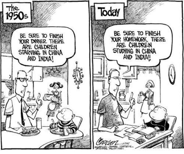 (1950s): Tómate toda la cena. Hay niños que pasan hambre en India y China. (Hoy): Termina los deberes. Hay niños estudiando en India y China.