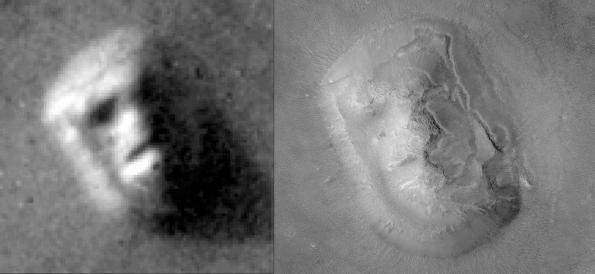 Fotografías de la Cara de Cydonia tomadas por la Viking 1 en 1976 (izquierda) y por la Mars Express en 2003 (derecha).