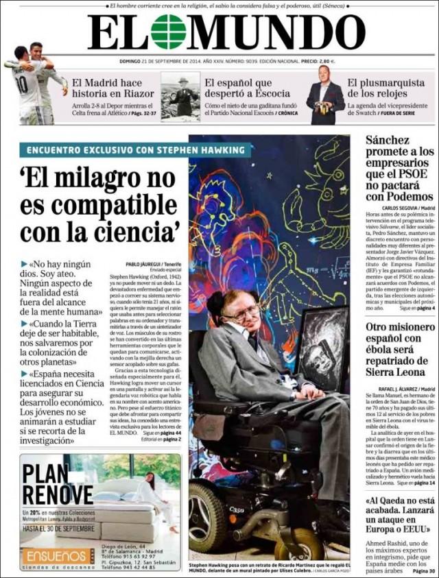 Hawking dios y algunos cient ficos cristianos del mont n for Noticias actuales del mundo del espectaculo