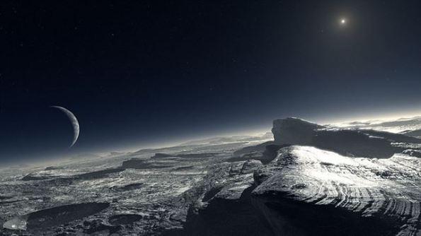 Recreación artística de la superficie de Plutón con Caronte a la izquierda y un diminuto sol arriba a la derecha.