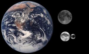 Comparación entre Plutón, Caronte, la Tierra y la Luna