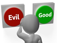 evil-good-buttons-show-morals-or-mischie